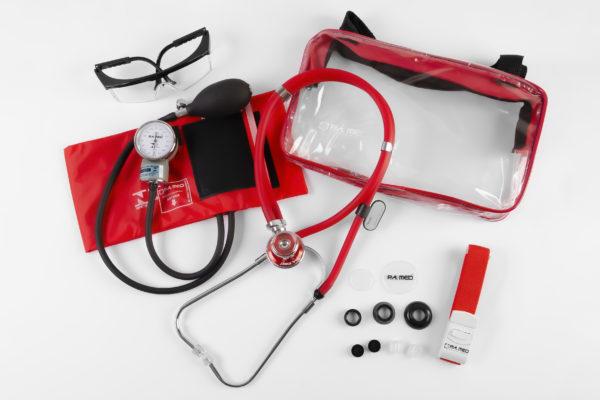 Kit Acadêmico com Bolsa Transparente vermelho (Ap. Pressão Art. Adulto Nylon Fecho de Contato + Estetoscópio Rappaport – P.A. MED
